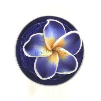 Anillo flor azul y cápsula de Nespresso