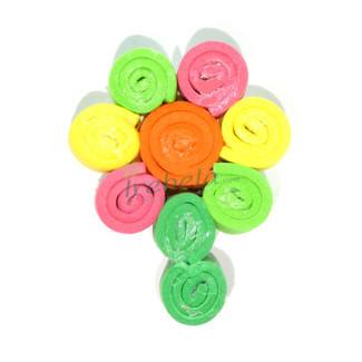 Broche flor multicolor de espirales de goma eva