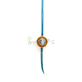 Colgante dorado y azul de cápsulas de Nespresso, alambre de aluminio y cristal