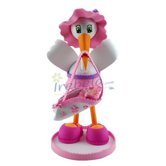 Fofucha cigüeña con pamela y falda rosa