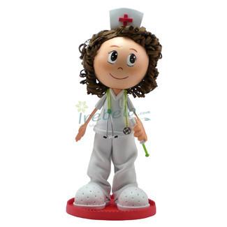 Fofucha Enfermera castaña pelo rizado